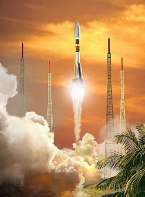 Soyuz-2 Rocket Launch, Artwork Art Print by David Ducros