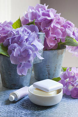 Y120817 Photograph - Spa And Bath Products With Hydrangeas by Susan Findlay