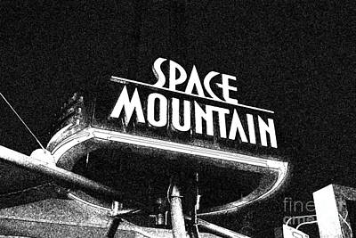 Digital Art - Space Mountain Sign Magic Kingdom Walt Disney World Prints Black And White Fresco by Shawn O'Brien