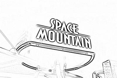 Digital Art - Space Mountain Sign Magic Kingdom Walt Disney World Prints Black And White Photocopy by Shawn O'Brien