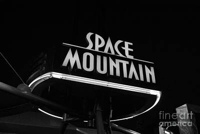 Photograph - Space Mountain Sign Magic Kingdom Walt Disney World Prints Black And White by Shawn O'Brien