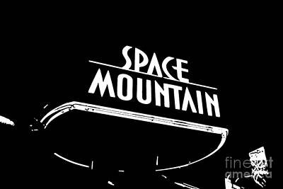 Digital Art - Space Mountain Sign Magic Kingdom Walt Disney World Prints Black And White Stamp by Shawn O'Brien