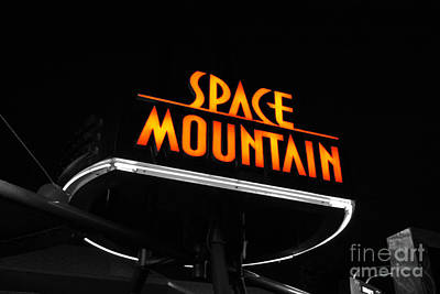 Photograph - Space Mountain Sign Magic Kingdom Walt Disney World Prints Color Splash Black And White  by Shawn O'Brien