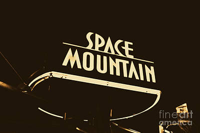 Digital Art - Space Mountain Sign Magic Kingdom Walt Disney World Prints Rustic by Shawn O'Brien
