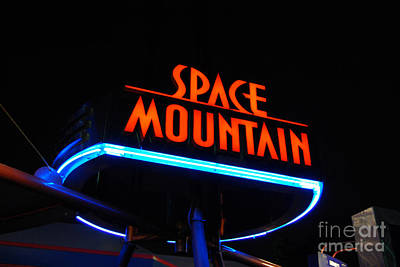 Photograph - Space Mountain Sign Magic Kingdom Walt Disney World Prints by Shawn O'Brien