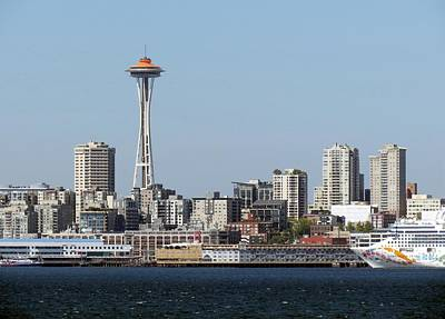1963 Worlds Fair Photograph - Space Needle And Cruise Ship by Chris Anderson