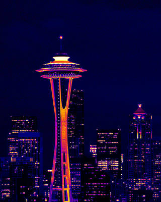 Photograph - Space Needle At Night In Thermal Color by Mark J Seefeldt