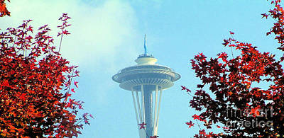 Space Needle In The Fall Art Print by Nick Gustafson