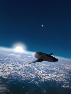 Digitally Manipulated Photograph - Space Plane In Earth Orbit by Richard Kail