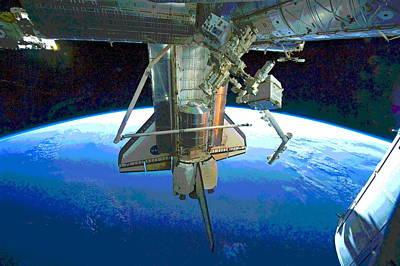 Space Shuttle Atlantis At Iss Art Print