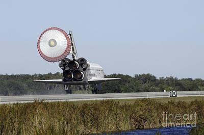Braking Photograph - Space Shuttle Atlantis Unfurls Its Drag by Stocktrek Images
