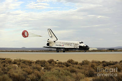 Braking Photograph - Space Shuttle Discovery Deploys by Stocktrek Images