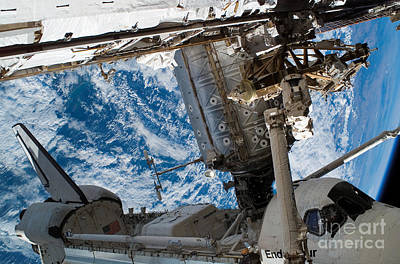 Photograph - Space Shuttle Endeavour Docked by Stocktrek Images