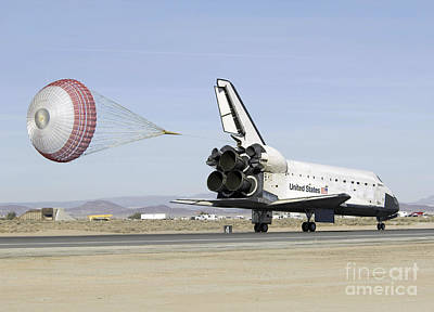 Braking Photograph - Space Shuttle Endeavour With Its Drag by Stocktrek Images