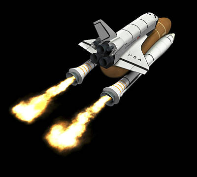 Space Shuttle Launch, Computer Artwork Print by Friedrich Saurer