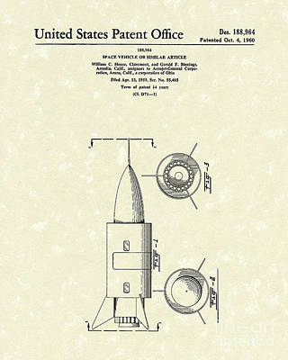 Space Art Drawing - Space Vehicle 1960 Patent Art  by Prior Art Design
