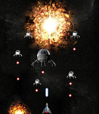 Space Invaders Photograph - Space War by Christian Darkin