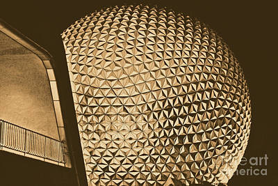 Geodesic Digital Art - Spaceship Earth And Futuristic Walkway Epcot Walt Disney World Prints Rustic by Shawn O'Brien