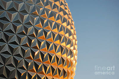 Geodesic Dome Digital Art - Spaceship Earth Sunset Profile Epcot Walt Disney World Prints Accented Edges by Shawn O'Brien