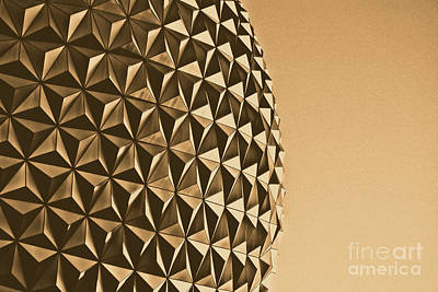 Geodesic Dome Digital Art - Spaceship Earth Sunset Profile Epcot Walt Disney World Prints Rustic by Shawn O'Brien