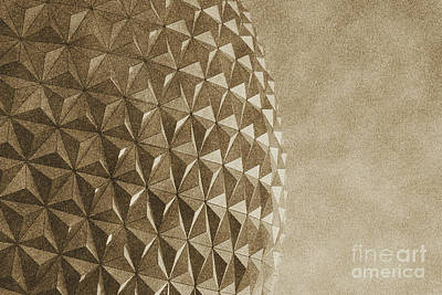 Geodesic Dome Digital Art - Spaceship Earth Sunset Profile Epcot Walt Disney World Prints Vintage by Shawn O'Brien