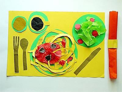 Spaghetti Paper Dinner Art Print by Ward Smith