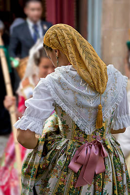 Photograph - Spain. Valencian Woman In Traditional Dress by Juan Carlos Ferro Duque
