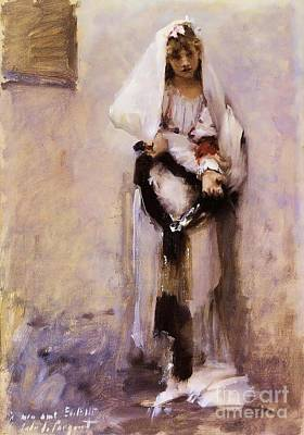 Painting - Spanish Beggar Girl by Pg Reproductions