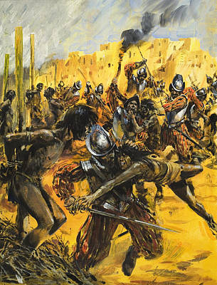 Spanish Conquistadors Art Print by Graham Coton