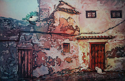 Poured Watercolours Painting - Spanish Courtyard by Leslie Redhead