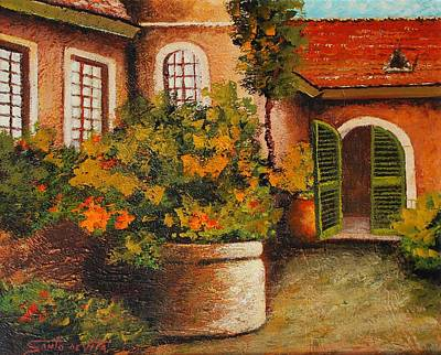 Spanish Villa Painting - Spanish Courtyard by Santo De Vita