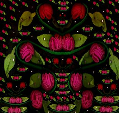 Flamenco Mixed Media - Spanish Flamenco Roses In Fantasy Style by Pepita Selles