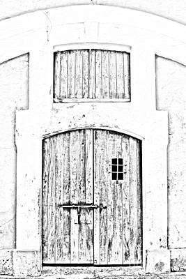 Digital Art - Spanish Fort Door Castillo San Felipe Del Morro San Juan Puerto Rico Prints Black And White Line Art by Shawn O'Brien