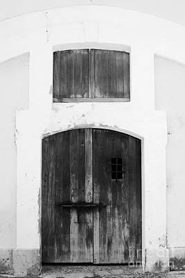 Photograph - Spanish Fort Door Castillo San Felipe Del Morro San Juan Puerto Rico Prints Black And White by Shawn O'Brien