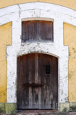 Caribbean Digital Art - Spanish Fort Door Castillo San Felipe Del Morro San Juan Puerto Rico Prints Poster Edges by Shawn O'Brien