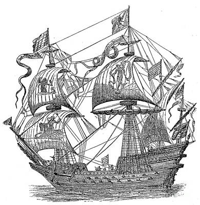 Spanish Ship Photograph - Spanish Galleon, 1588 by Granger