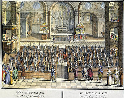 Historia Wall Art - Photograph - Spanish Inquisition. /nthe Auto-da-fe, The Ceremony Accompanying The Pronouncement Of Judgment By The Spanish Inquisition. Color Over A Line Engraving From Historia Inquisitionis, By Phillip Van Limborch, 1692 by Granger