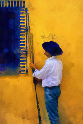 Impressionism Photos - Spanish Man at the Yellow Wall. Impressionism by Jenny Rainbow