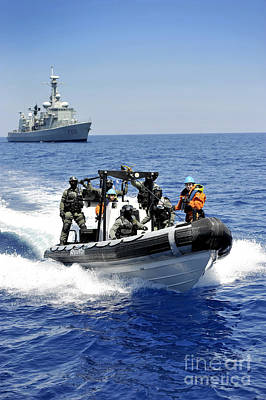 Inflatable Photograph - Spanish Marines Depart The Spanish Navy by Stocktrek Images