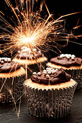 Muffin Photograph - Sparkler Cupcakes by Amanda Elwell