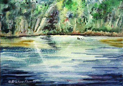 Ducks In Watercolor Painting - Sparkling Water by Kristine Plum