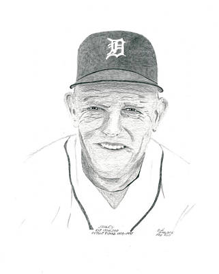 Detroit Tigers Drawing - Sparky by Bob and Carol Garrison