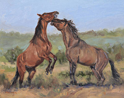Painting - Sparring Colts by Karen McLain
