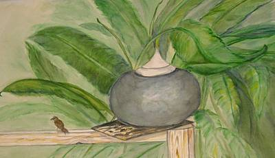 Sparrow And Ginger Art Print by Marian Hebert