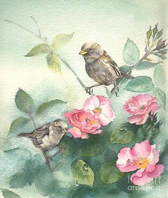 Sparrows And Dog Rose Art Print