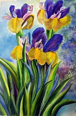 Painting - In Memory Of My Father - Three Blue And Yellow Irises by Therese AbouNader