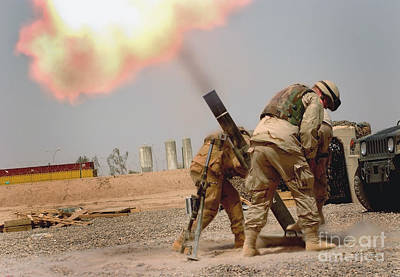 Specialist Fires A 120mm M120 Mortar Art Print by Stocktrek Images