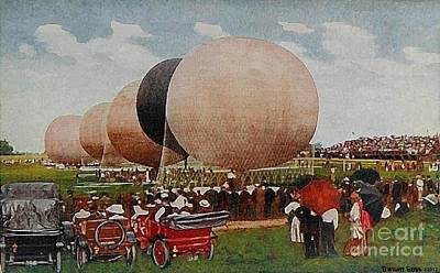 Painting - Speedway Baloon Race At Indianapolis In In 1911 by Dwight Goss