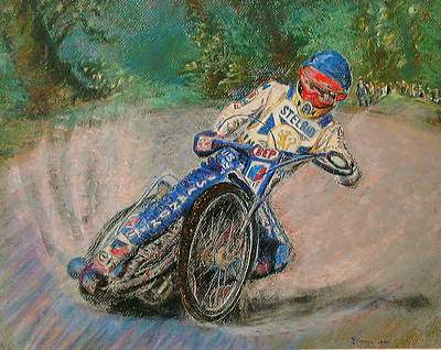 Speedway Rider Edinburgh Monarchs Art Print by Richard James Digance