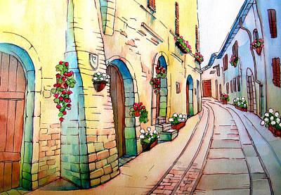 Graphics Painting - Spello City Of Flowers by Khromykh Natalia